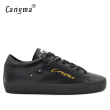 CANGMA Luxury Brand Durable Mens Shoes Lace Up Black Genuine Leather Sneakers Casual Shoes Man Flats Male Bass Handmade Footwear