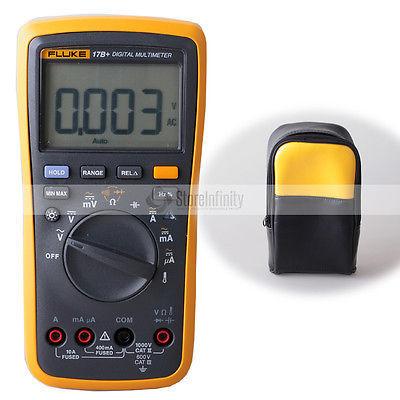 Fluke 17B+ Digital Multimeter Temperature Probe TL75 test leads +Soft Case bag