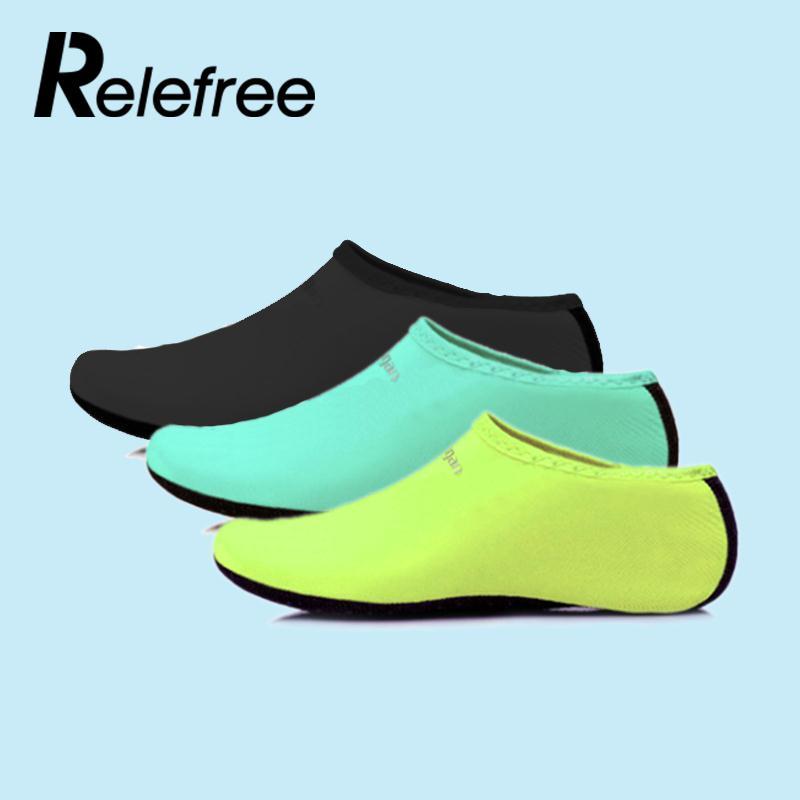 Relefree Men/ Women Water Sport Shoes Nylon + Neoprene Mesh Aqua Socks Yoga Exercise Pool Beach Dance Swim Slip Surfing Shoes