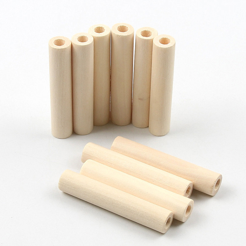 10PCS Logs Hollow Tubular Wooden Beads DIY Wood Color Handmade Jewelry Creative Earrings Accessories 50x10mm(China)