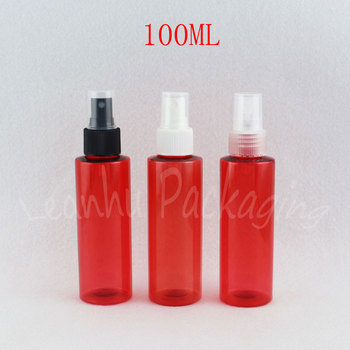 100ML Red Plastic Bottle With Spray Pump , 100CC Makeup Sub-bottling , Toner / Water Travel Packaging Bottle ( 50 PC/Lot )