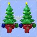 2 м Высокая Надувные Елки, рождество Надувные, вращающихся Санта Дерево с Освещения на Продажу