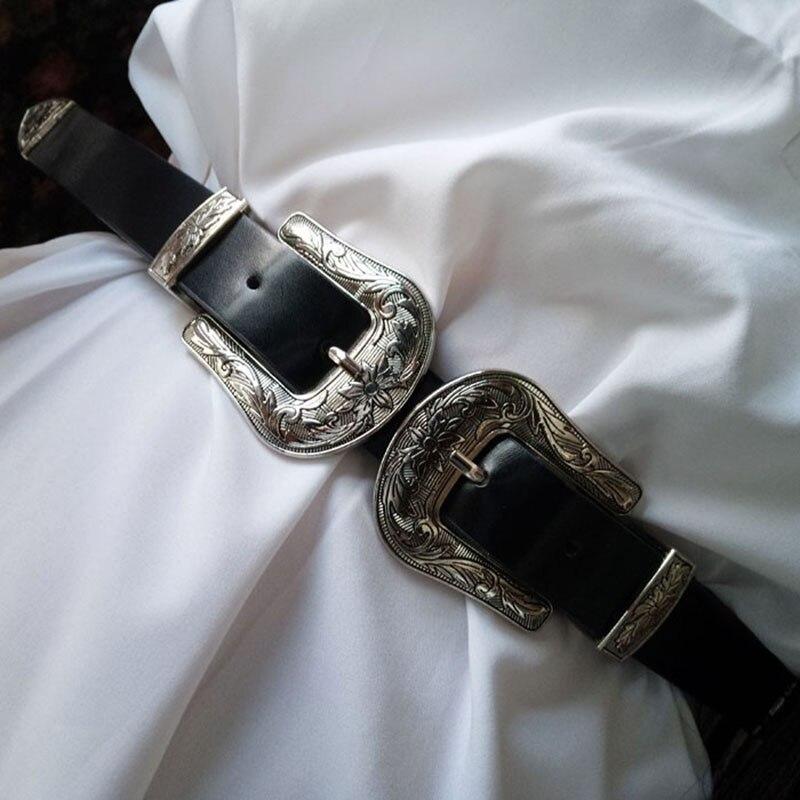 Fantastic Twin Pin Buckle Designer   Belts   for Women Western Black Leather Dress   Belt   Lady ceinture femme   belt