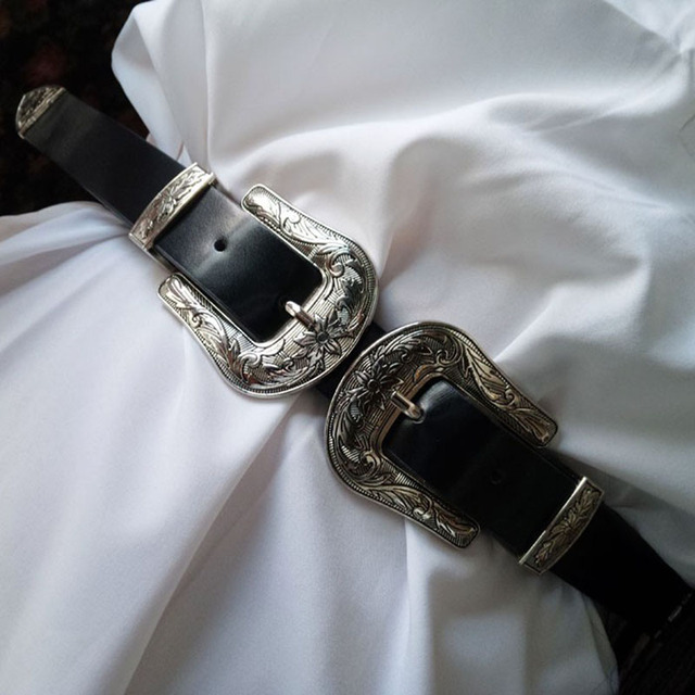 Excellente qualité prix de liquidation regard détaillé € 6.8 40% de réduction|Fantastique double boucle ardillon concepteur  ceintures pour femmes Western noir en cuir robe ceinture dame ceinture  femme ...
