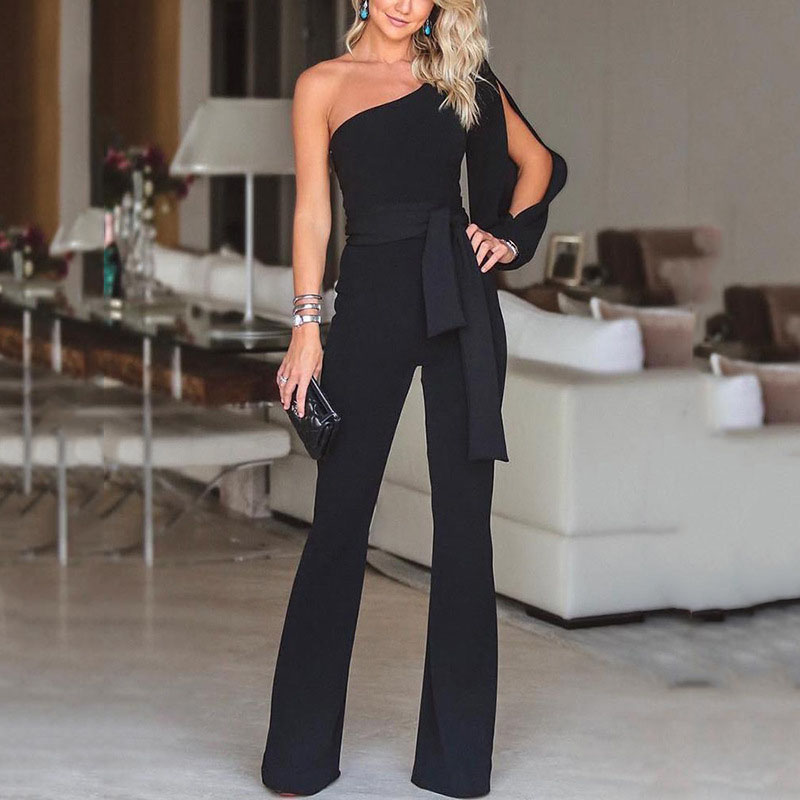 New-fashioned Women Ladies Long Sleeve One shoulder Bandage Evening   Jumpsuit   Romper