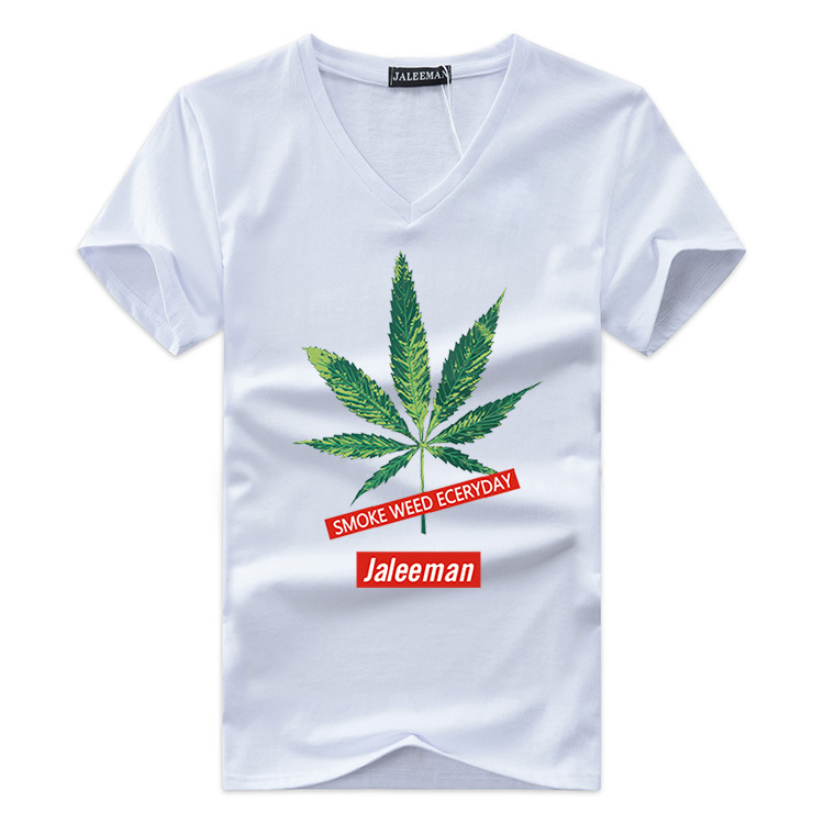 JALEEMAN 2018 New Summer T-Shirt Men's Short Sleeve V-Neck Cotton Fashion T-Shirt Men's T-Shirt Print Fashion Maple Leaf T-Shirt