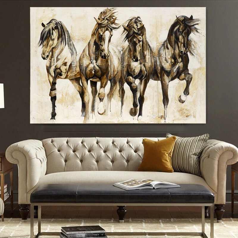 الرجعية الحنين الحصان البني الرقص الجدار ملصق فني غرفة المعيشة الحيوان النفط الطلاء على قماش جدار صور للمنزل ديكور كوادروس