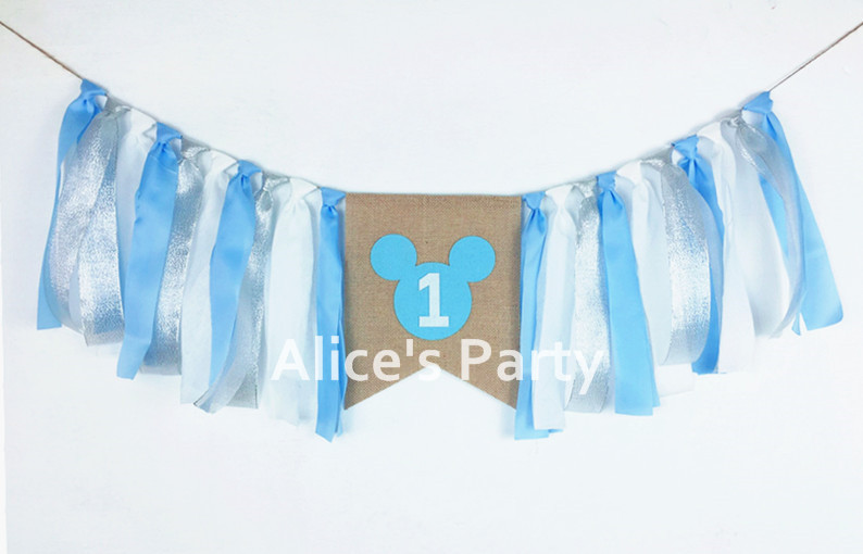 New Blue Silver Mickey Mouse Party Highchair Bunting Pink Gold Minnie Banner 1st Birthday Baby Shower Cake Smash Decor Garland