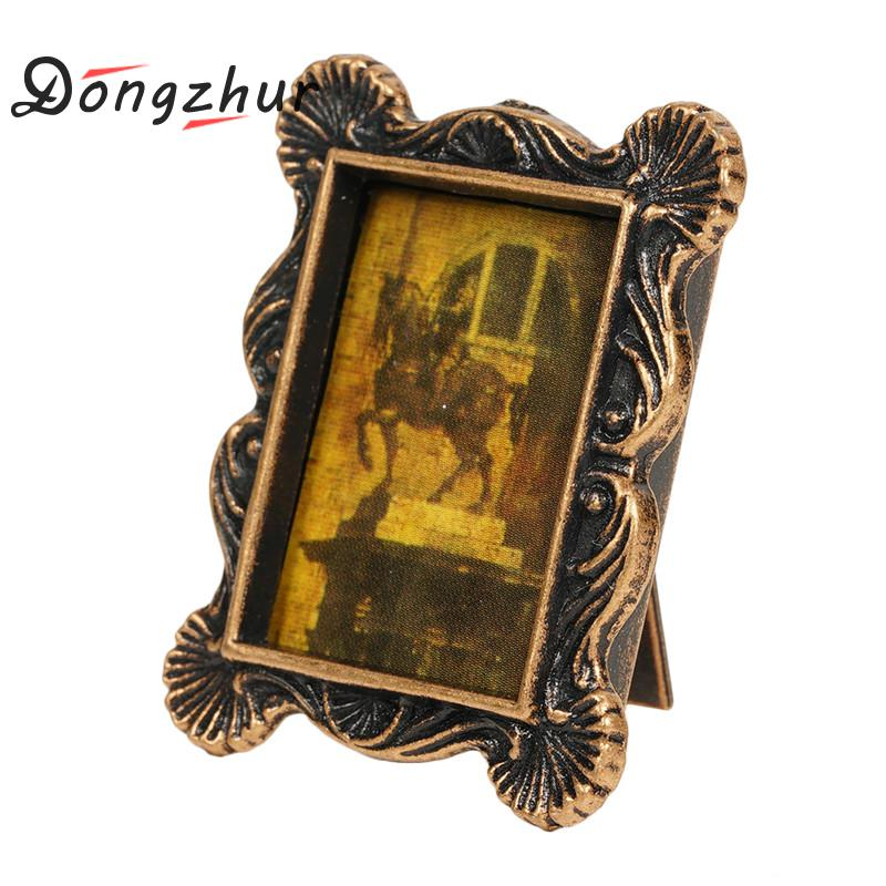 Dongzhur Texture Metal Retro Frame Dollhouse Miniatures <font><b>1</b></font>:<font><b>12</b></font> <font><b>Accessories</b></font> DIY <font><b>Doll</b></font> <font><b>House</b></font> Mini <font><b>Accessories</b></font> Dollhouse Decoration image
