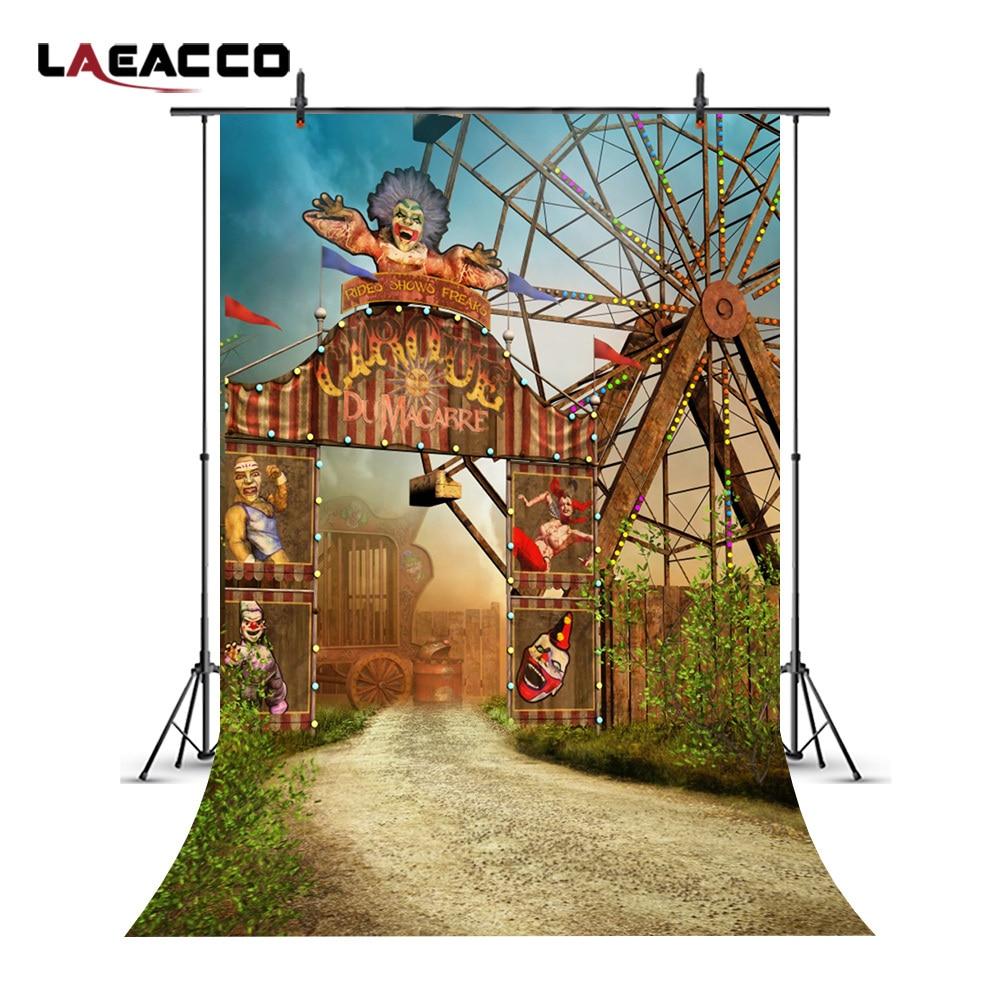 Laeacco Cartoon Ferris Wheel Circus Gate Newborn Baby Child Photo Backgrounds Vinyl Photography Backdrops Props For Photo Studio