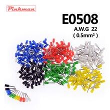 20/50/100 шт E0508 труба изоляционные терминалы AWG 22 изолированный кабель провод 0.5mm2 разъем изоляционные обжимной терминал для подключения