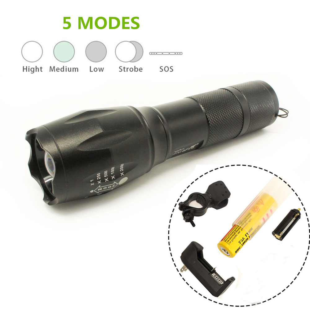 High lumen LED Flashlight Zoomable 4.2V CREE XML-T6 1*18650 Battery 5 Modes Focalize Flash Lamp+bicycle holder + battery charger cree xml t6 led flashlight mini zoomable 5 mode lamp 18650 rechargeable battery charger and bicycle torch holder