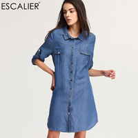 ESCALIAR Women S Dresses Spring And Summer Denim Dress Women Casual Dress Robe Femme High Quality