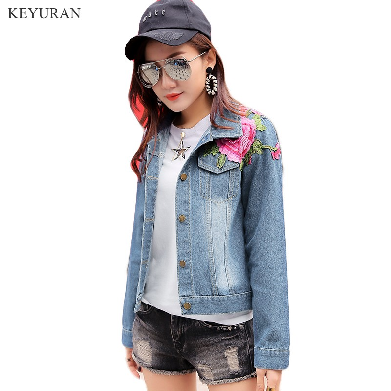 2018 Spring Autumn Jean Jacket Women Punk Blue 3d Rose Embroidered