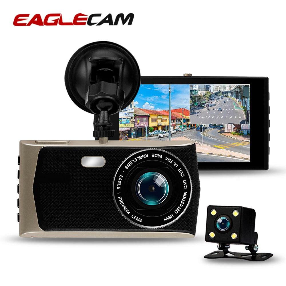 Eaglecam Dash Cam Dual Lens Full HD 1080P Car DVR 4 Touch Screen Camcorder Night Vision