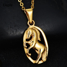 Eleple Luxury Stainless Steel Horse Pendant Necklaces Men and Women Creative Fashion Party Jewelry Necklace Manufacturers S-N286