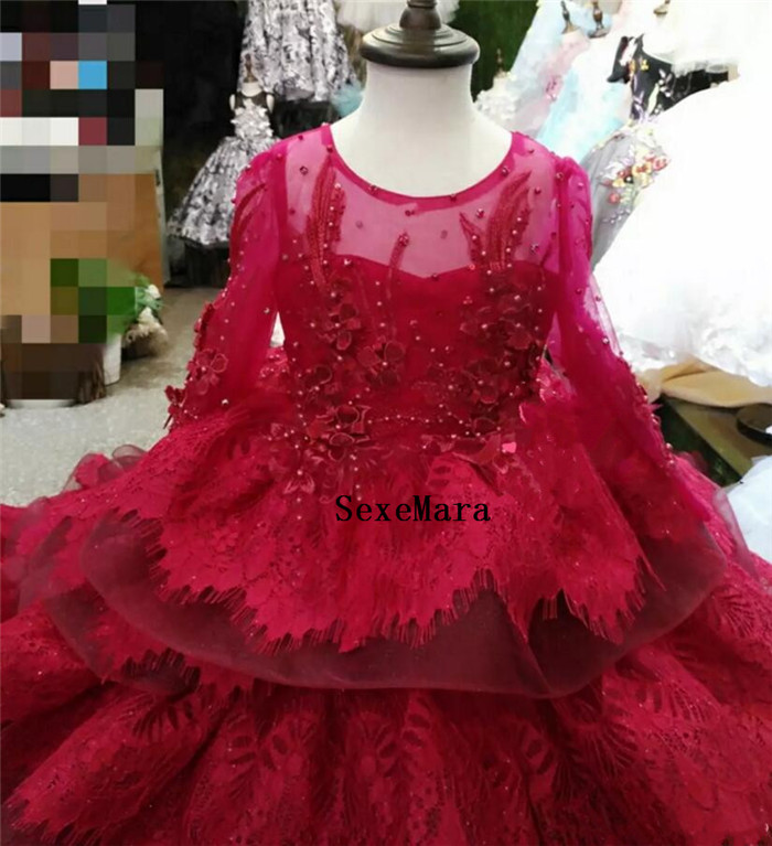 Image 2 - Red Lace Tiered Girls Clothes Long Sleeves Kids Formal Wear Jewel Applique Flower Girl Dresses for Wedding with Long Train-in Dresses from Mother & Kids
