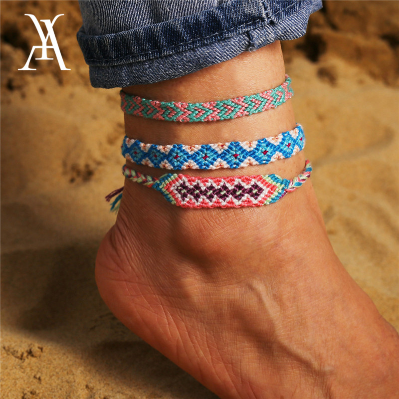 Boho Rainbow Colorful Handmade String Woven Anklets for Women Adjustable Knotted Friendship Ankle Bracelet
