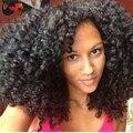 Дешевые малайзии девственные волосы у части парики для Balck женщины спираль вьющиеся U часть человек с ребенком волос средней части у части парик