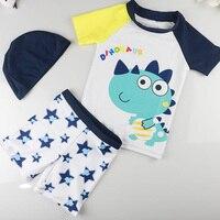 3 Pcs Set 3M-7A Bebés Meninos Maiôs de Manga Curta Protetor Solar de Proteção UV Meninas Swimwear Crianças Trajes de Banho Surf Novo Dinossauro