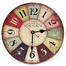 2016 Artistic Silent Retro Creative European Style Round Colorful Vintage Rustic Decorative Antique Wooden Home Wall Clock