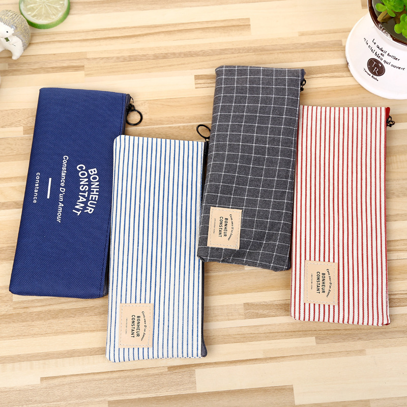 1 pcs zipper canvas Pencil Case cat School Supplies  Stationery Gift Estuches Pencilcase Box student Pencil Bag