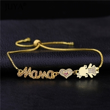 Hand made DIY Cute Crown Girl and Boy Mama with heart Kawaii Charms Gold Silver Rose Chain Bracelets For Women Armband