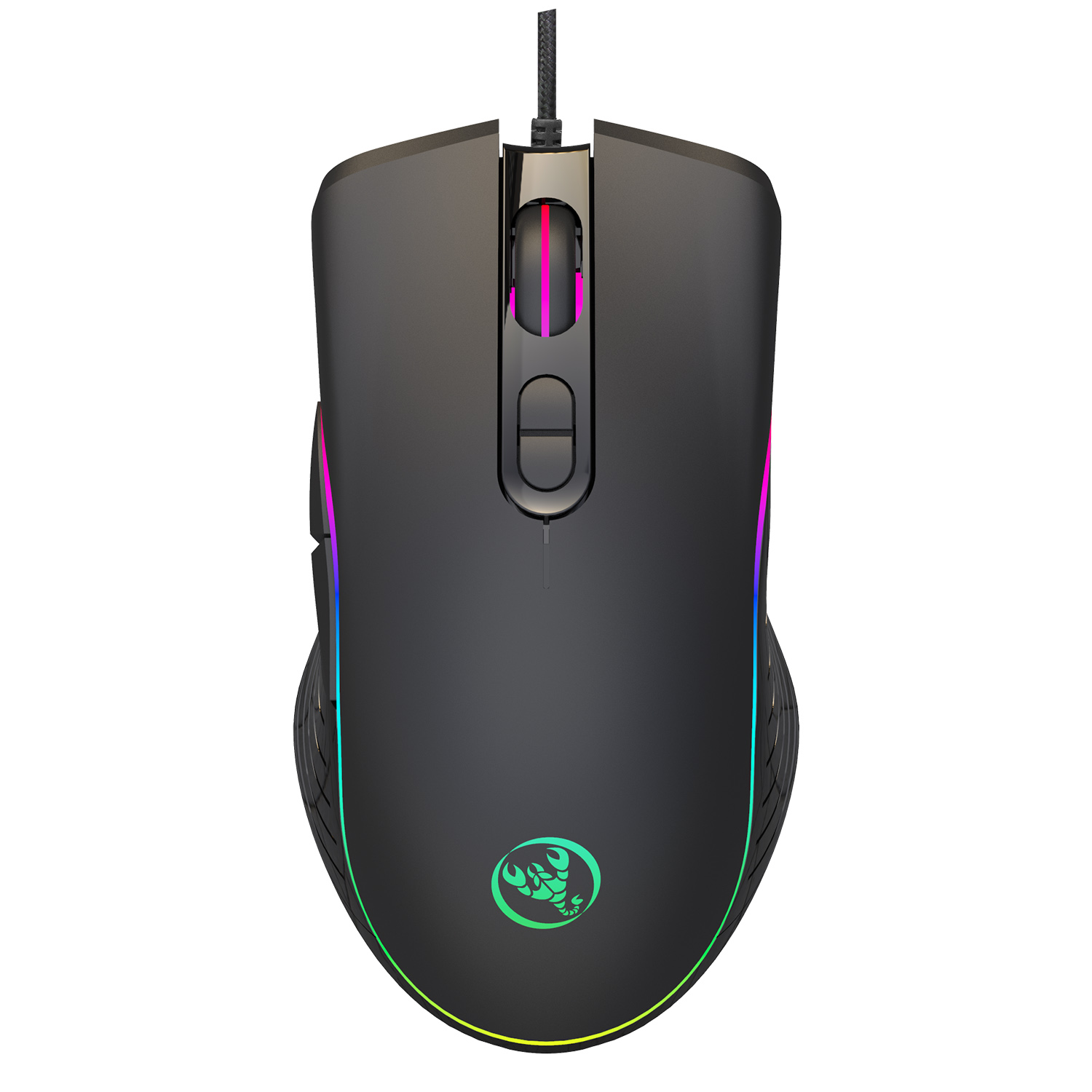 RGB BACKLIT PROGRAMMABLE GAMING MOUSE WIRED USB 6400DPI LAPTOP 7 BUTTONS OPTICAL