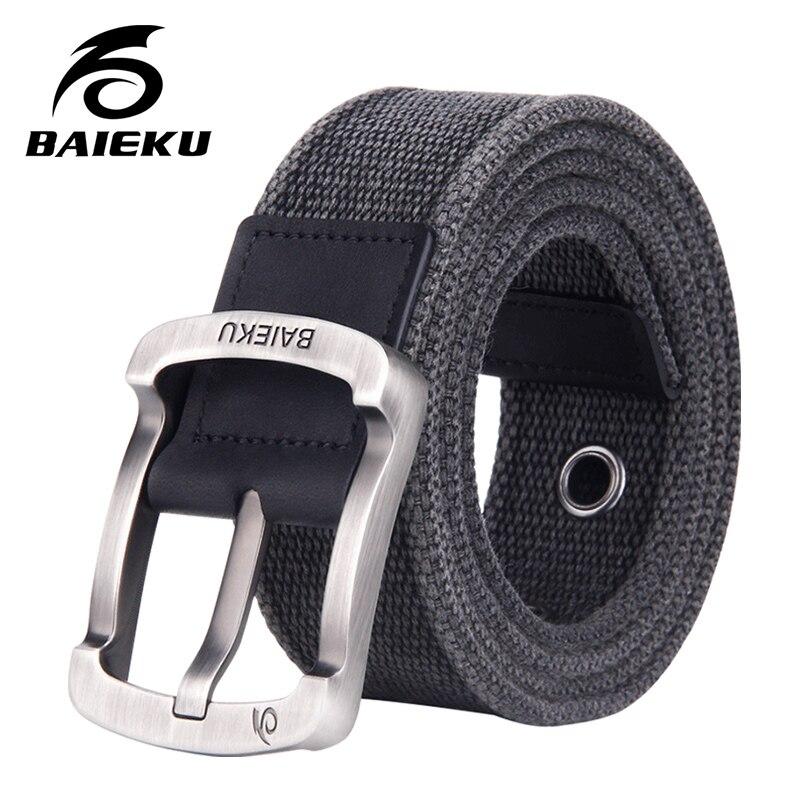 BAIEKU casual fashion men's cotton   belt   2018 new unisex style Canvas blue   belt   for jeans