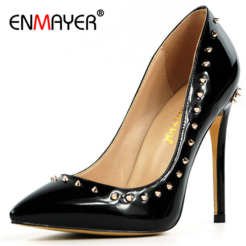 ENMAYER Summer Shallow Pumps Shoes Woman High Heels Rivets Charms Pointed Toe Plus Size 34-43 Sexy Party Wedding Shoes мужская футболка gildan tee hic 4516