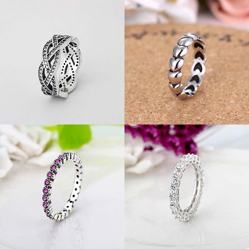 925 Silver Ring Charm Rose Red Surround Heart CZ Crystal Finger Rings For Women Jewelry