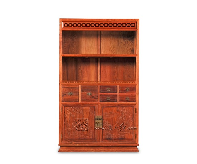 Multi Function Office Study Room Bookcase Storage Wooden Bookshelf 4 Layers  Rosewood Home Kitchen Caninet