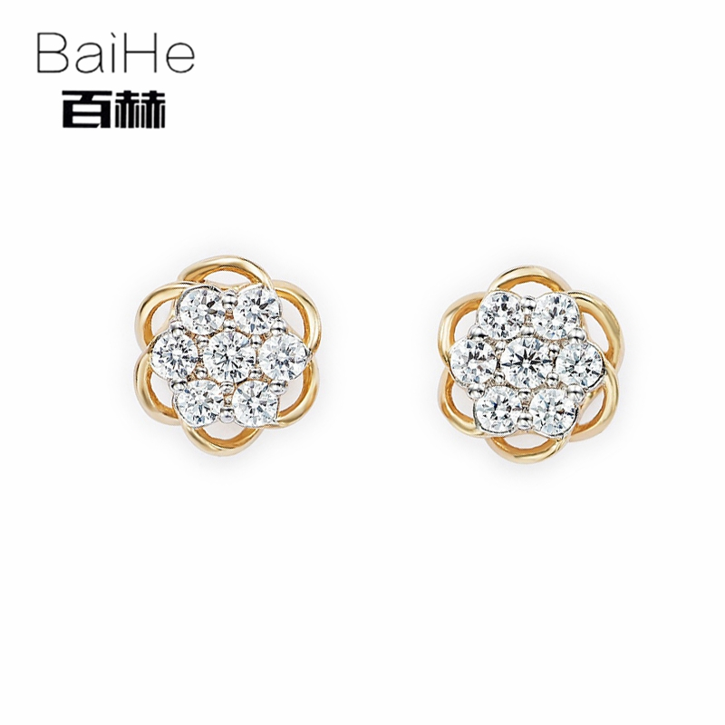 BAIHE Solid 14K Yellow Gold 0.28ct H/SI 100% Genuine Natural Diamonds Wedding Trendy Fine Jewelry Elegant Unique Stud Earrings solid 18k rose gold unique stud earrings for women si h 100% natural diamonds earrings unique trendy party fine jewelry