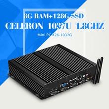 Мини-компьютер celeron C1037U настольных пк 8 г оперативной памяти 128 г ssd с wi-fi 4 * com 1 * RJ-45 может oem / odm SO-DIMM без вентилятора тонкий клиент