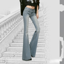 Summer Hole Slim Color Denim Micro Bell Pants Women 2018 New High Waist Jeans Trousers Boyfriend Jeans for Women(China)