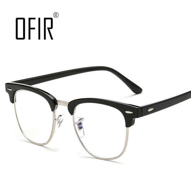 fbd59d700eda0 OFIR Nerd Glasses occhiali donna miopia Myopia Optical Computer Glasses  Half Frame Metal PC Men Women Decorative Glasses PC-14