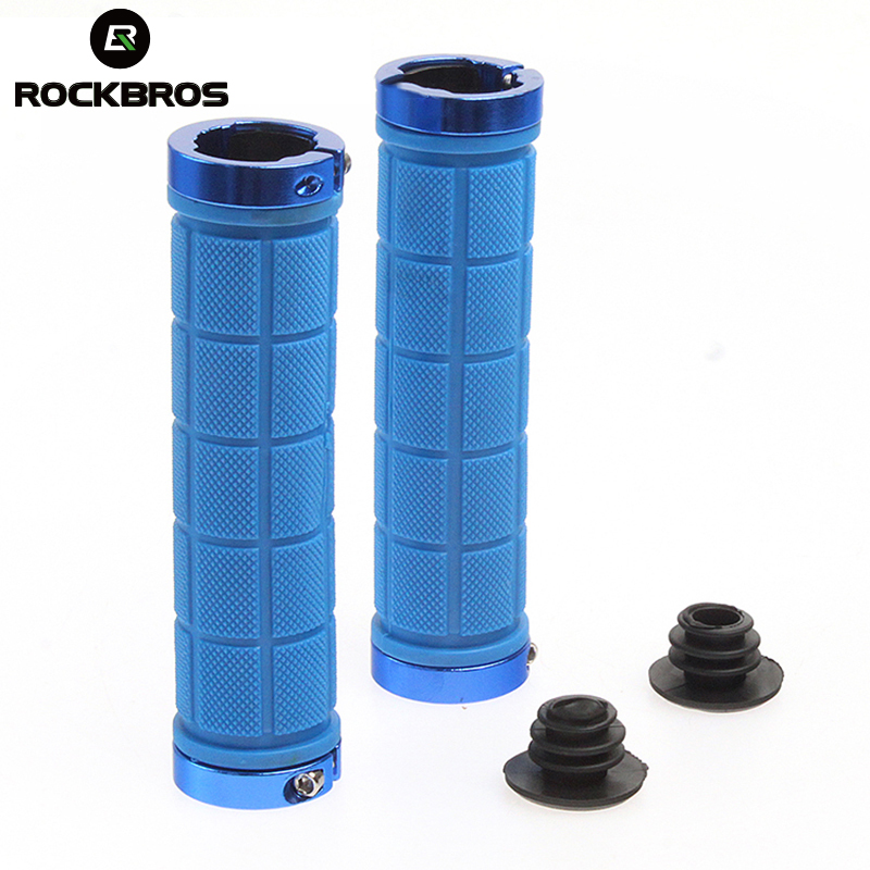 RockBros Cycling Bike Fixed Gear Grips MTB Mountain Bike Bicycle Handlebar Soft Durable Lock-on Grips Rubber Cycle Parts,5 Color 1 pair cycling mtb mountain bike fixed gear grips bicycle handlebar lock on rubber grips cycle bike bicycle parts 5 colors