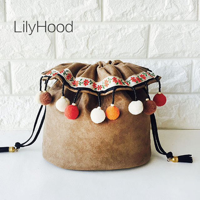 LilyHood 2018 Handmade Women Pom Pom Cute Bucket Shoulder Bag Retro Chic Music Festival Bohemian Boho Chic Velvet Crossbody Bag