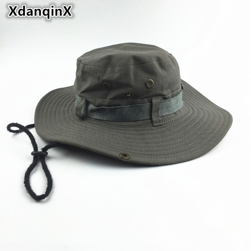 XdanqinX Summer Men 39 s Women 39 s Tourism Bucket Hats Large Brim Round Fashion Casual Fishing Hat Wind Rope Fixing Sun Hat Adult in Men 39 s Bucket Hats from Apparel Accessories