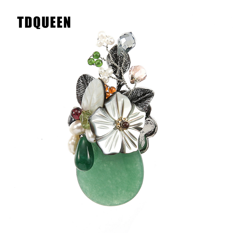 TDQUEEN Brooches Natural Stone Women Broches Silver Plated Safety Pin Jewelry Freshwater Pearl Shell Flower Brooch