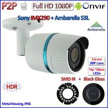 Лучшие H.265 P2P 2MP мини ip-камера ONVIF Ambarella 1080 P IMX290 ip-камера открытый, H.264 IR-CUT, POE Дополнительно, 3.6 мм объектив, HDR