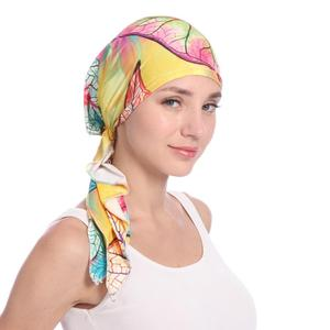 Image 5 - Мусульманская женская шапка тюрбан головной шарф Эластичная Повязка Бандана Хиджаб Кепка против выпадения волос с цветочным принтом Кепка для химиотерапии индийская мода