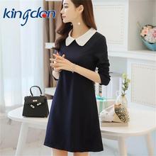 New fashion White Collar Dark Blue Dress Short Sleeve Navy blue Summer Women Dress Mini Sundress School Preppy Style dresses