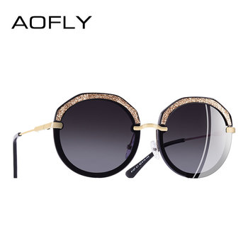 AOFLY BRAND DESIGN New Fashion Round Sunglasses Shining Frame Polarized Sunglasses Women Goggles UV400 A127