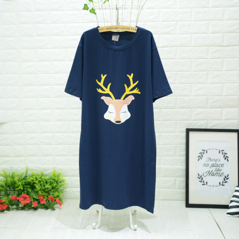 2018 New arrival women nightgowns with cute deer printed brief simple spring summer sleep dress softy cotton for ladies