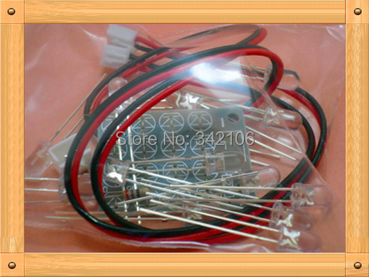 Free Shipping!!!  5pcs 5MM LED Light-emitting Diode Light Board / 4'' 4 LED Light Board (Spare Parts)