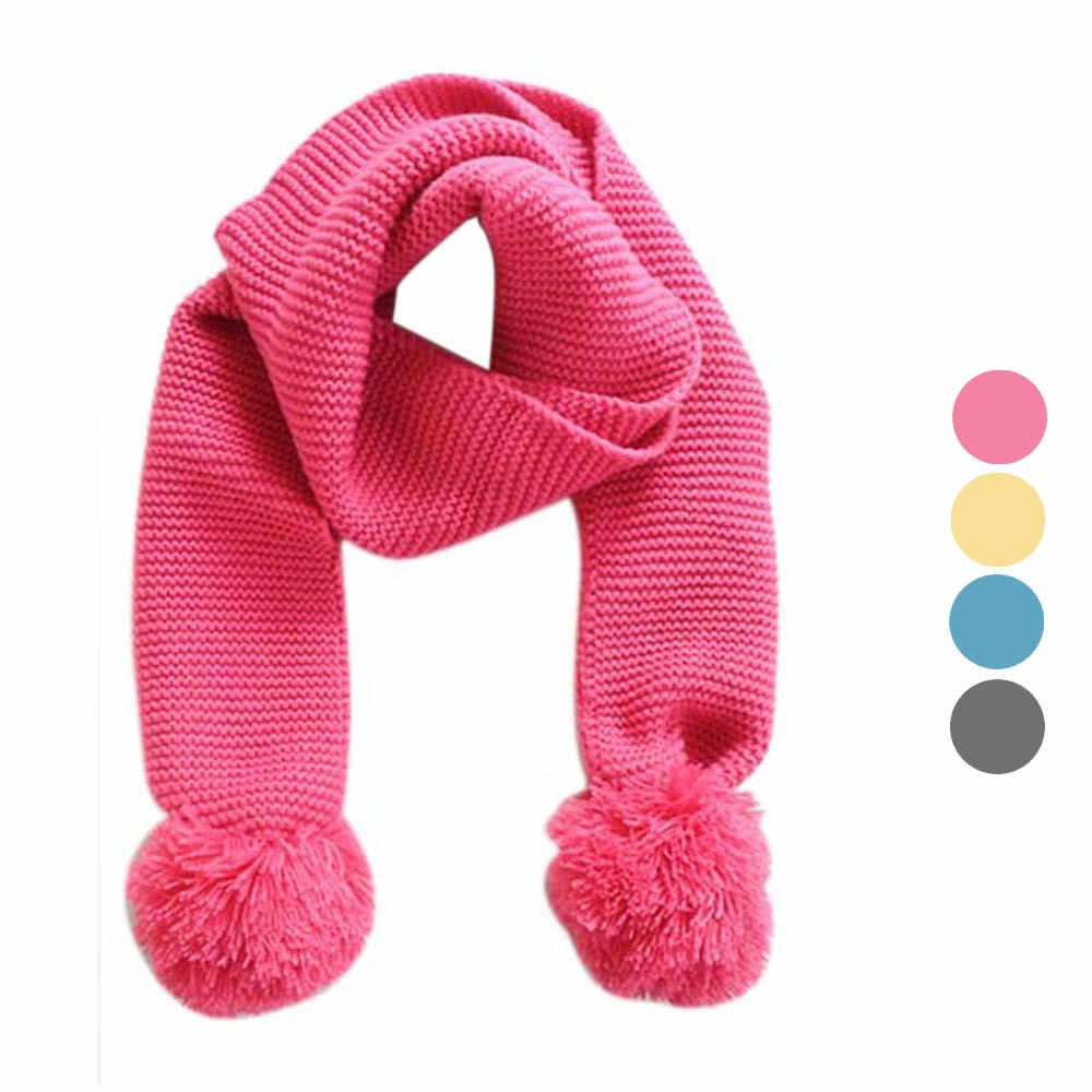 1PC Fashion Design Baby Knitting Wool Round Neck Winter Warm Solid Color Scarf Boy Girl Knitted Scarf For 2 to 6 years old