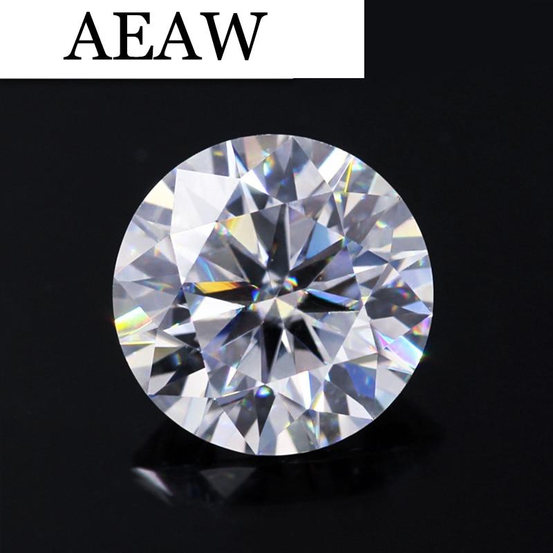 AEAW Round Brilliant Cut 3ct Carat 9mm F Color Moissanite Loose Stone VVS Excellent Cut Grade Test Positive Lab Diamond aeaw 1 25 carat 6mm 6mm f color princess cut moissanite lab diamond loose stone test positive