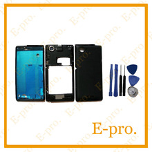 Original Full Housing Cover Case For Sony Xperia L S36h S36 C2104 C2105 Front Frame Middle Bezel Battery Back Door +Tools