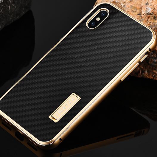 For Apple iPhone X Case Luxury Metal Aluminum Bumper Real Carbon Fiber Hard Cover Back Case